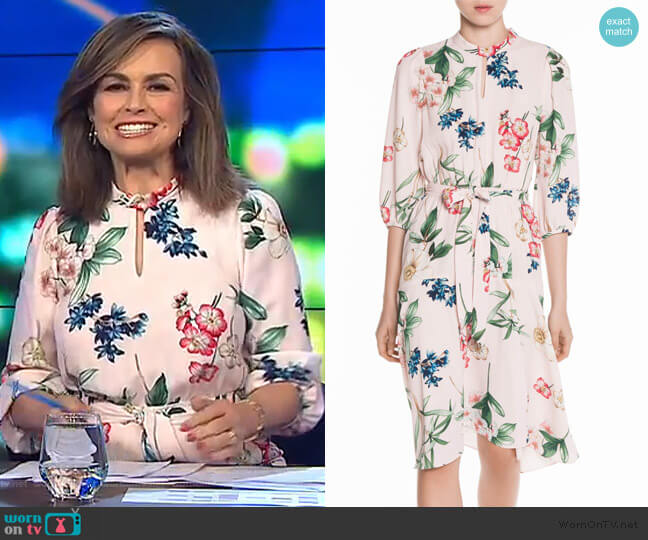 Ornamental Flowers Keyhole Dress by Veronika Maine worn by Lisa Wilkinson  on The Project