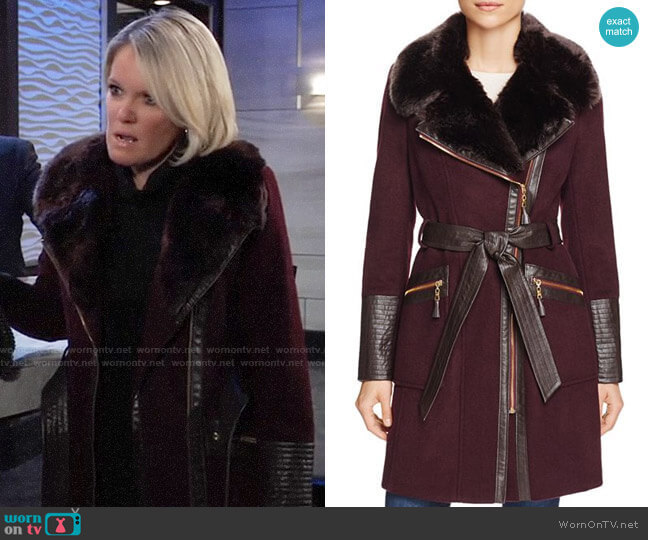 Via Spiga Belted Faux Fur-Trim Asymmetric Coat worn by Ava Jerome (Maura West) on General Hospital