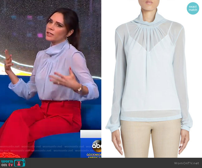 Sheer Gathered Cowlneck Top by Victoria Beckham worn by Victoria Beckham on GMA