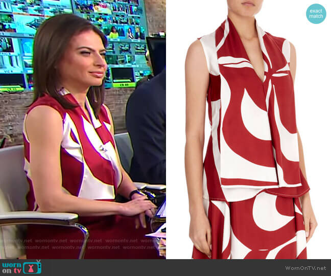 Silk Graphic Floral V-Neck Top by Victoria Beckham worn by Bianna Golodryga on CBS This Morning