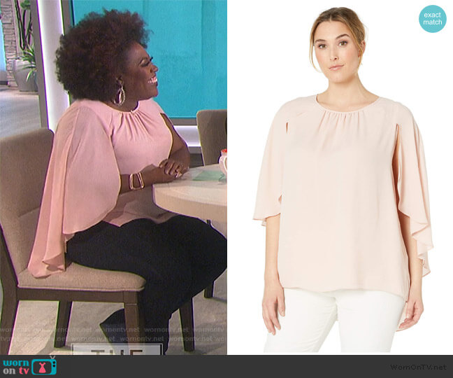 Gathered Crew Neck Cape Blouse by Vince Camuto worn by Sheryl Underwood  on The Talk