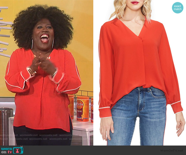 Piped Sleeve Top by Vince Camuto worn by Sheryl Underwood (Sheryl Underwood) on The Talk