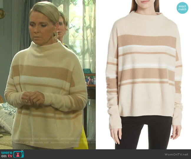 Cashmere Ombre Stripe Mock Neck Sweater by Vince worn by Jennifer Horton (Melissa Reeves) on Days of our Lives