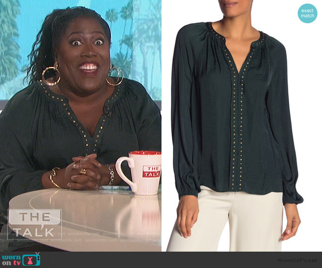 Stud Detail Hammered Satin Blouse by Vince Camuto worn by Sheryl Underwood (Sheryl Underwood) on The Talk