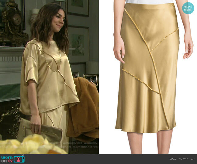 Raw-Edge Silk Midi Skirt by Vince worn by Abigail Deveraux (Kate Mansi) on Days of our Lives