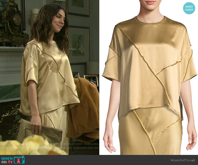 Raw-Edge Silk Short-Sleeve Tee by Vince worn by Abigail Deveraux (Kate Mansi) on Days of our Lives
