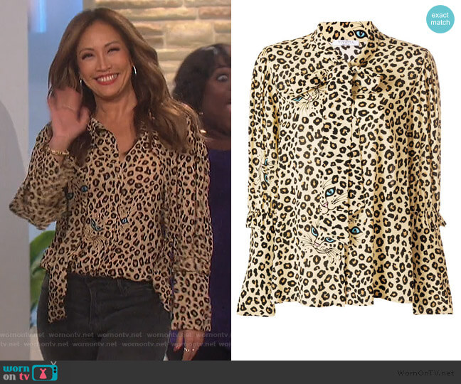 Leopard Print Blouse by Vivetta worn by Carrie Inaba  on The Talk
