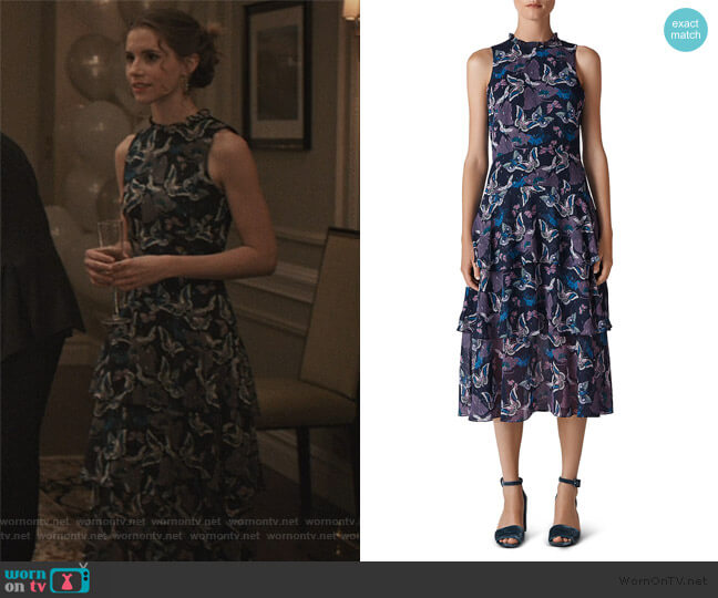 Butterfly-Print Tiered Midi Dress by Whistles worn by Stephanie 'Stevie' McCord (Wallis Currie-Wood) on Madam Secretary