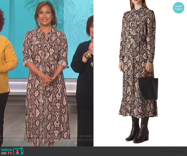 Elfrida Snakeskin-Printed Dress by Whistles worn by Carrie Inaba  on The Talk