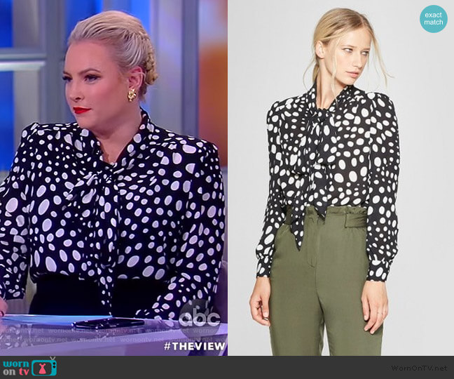 WornOnTV: Meghan's Black Polka Dot Blouse On The View
