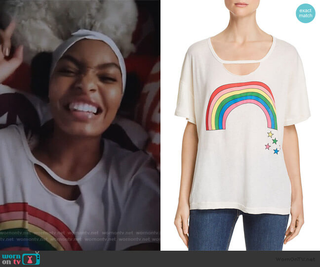 Rainbow Stars Tee by Wildfox worn by Zoey Johnson (Yara Shahidi) on Grown-ish
