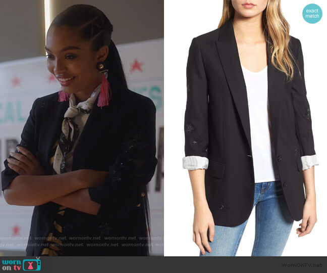 Viva Bis Star Blazer by Zadig & Voltaire worn by Zoey Johnson (Yara Shahidi) on Grown-ish