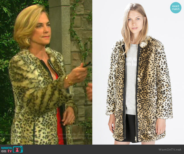 Leopard Print Coat by Zara worn by Eve Donovan (Kassie DePaiva) on Days of our Lives