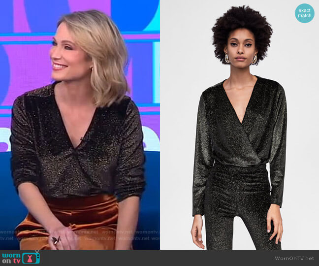 Sparkely Velvet Bodysuit by Zara worn by Amy Robach  on Good Morning America