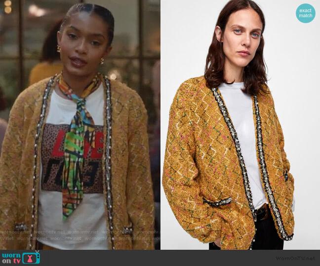 Tweed Jacket with Faux Pearls by Zara worn by Zoey Johnson (Yara Shahidi) on Grown-ish
