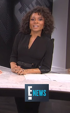 Zuri's black belted v-neck dress on E! News