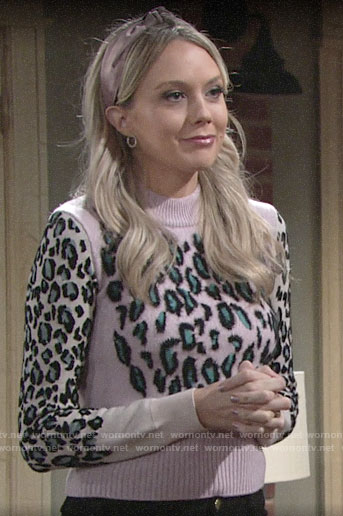 Abby's pink leopard print sweater on The Young and the Restless
