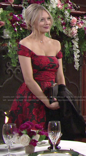 Abby's red floral off-shoulder midi dress on The Young and the Restless
