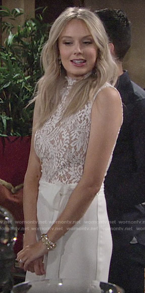 Abby's white lace top jumpsuit on The Young and the Restless