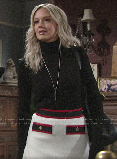 Abby's black turtleneck and white skirt on The Young and the Restless