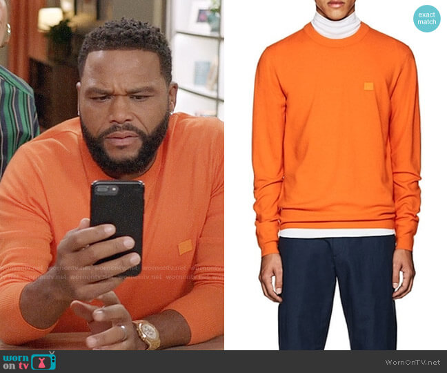 Acne Nalon S Emoji Wool Sweatshirt worn by Andre Johnson (Anthony Anderson) on Blackish