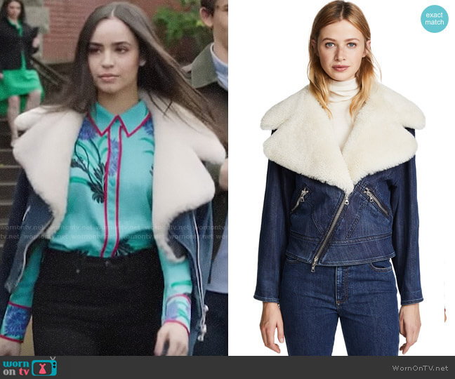 Adam Lippes Moto Jacket with Shearling Collar worn by Ava Jalali (Sofia Carson) on PLL The Perfectionists
