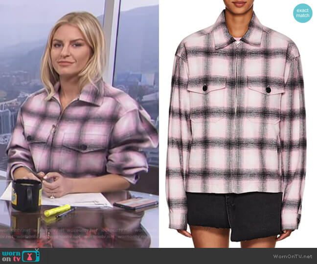 Service Plaid Cotton Flannel Jacket by Adaptation worn by Morgan Stewart  on E! News