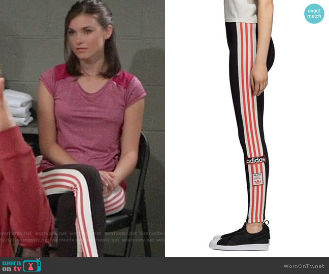Adidas Adibreak High-Rise Leggings worn by Katelyn MacMullen on General Hospital