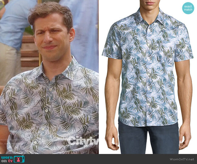 AG Nash Shirt in Plaited Palms Fernwood/teal Stone worn by Jake Peralta (Andy Samberg) on Brooklyn Nine-Nine