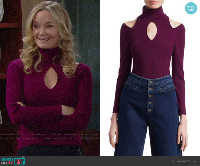 ALC Matera Sweater in Deep Orchid worn by Donna Logan (Jennifer Gareis) on The Bold & the Beautiful