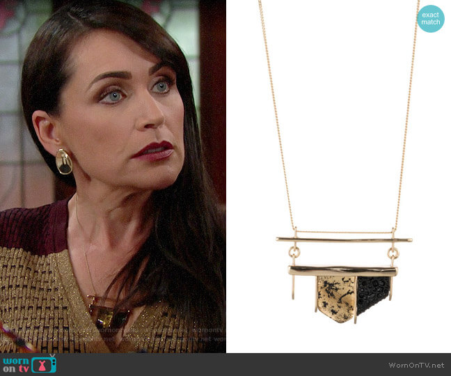 Alexis Bittar Crystal-Encrusted Lucite Pendant Necklace worn by Quinn Fuller (Rena Sofer) on The Bold & the Beautiful