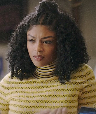 Ali's yellow geometric turtleneck sweater on God Friended Me