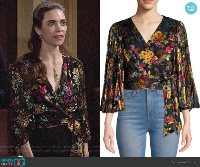 Alice + Olivia Western Floral Bray Top worn by Victoria Newman (Amelia Heinle) on The Young & the Restless