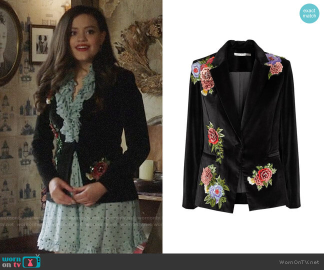 Alice + Olivia Hix Embellished Vevlet Blazer worn by Maggie Vera (Sarah Jeffery) on Charmed