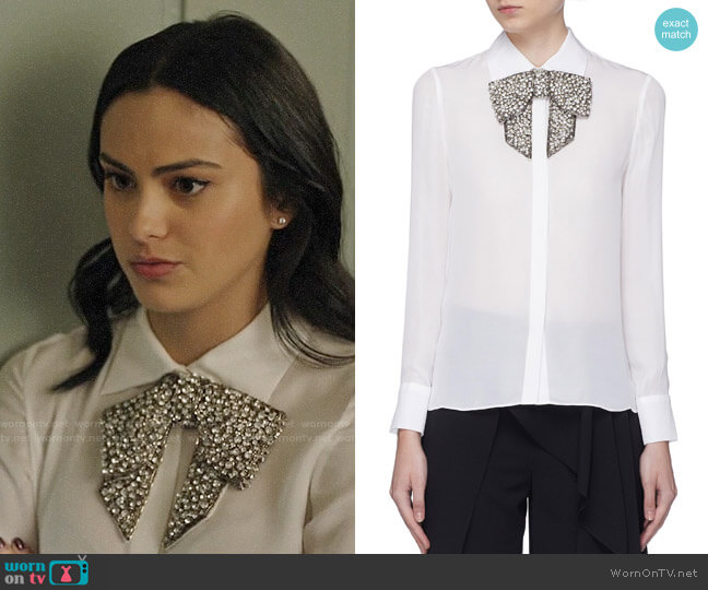 Alice + Olivia Willa Shirt with Embellished Bow worn by Veronica Lodge (Camila Mendes) on Riverdale