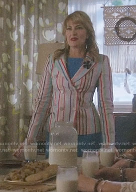 Alice's multi-color striped double-breasted blazer on Riverdale