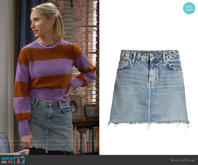 All Saints Betty Studded Denim Skirt worn by Mandy Baxter (Molly McCook) on Last Man Standing