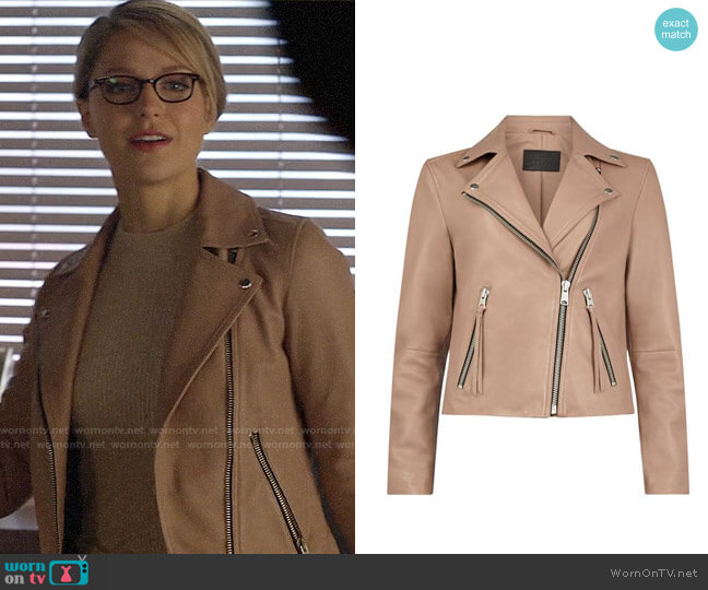 All Saints Dalby Biker Jacket worn by Kara Danvers (Melissa Benoist) on Supergirl