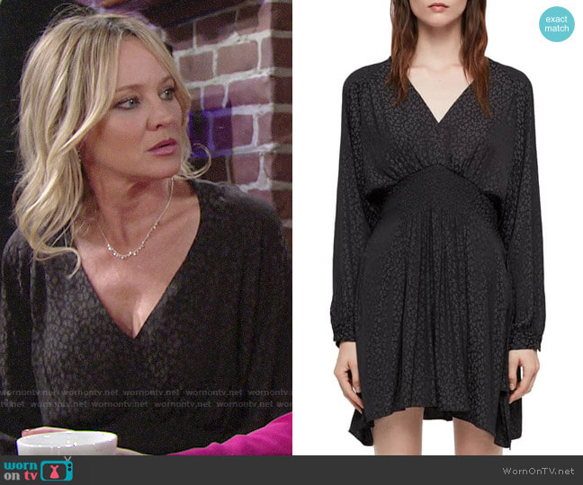 All Saints Nichola Leopard Dress worn by Sharon Collins (Sharon Case) on The Young & the Restless
