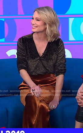 Amy's metallic wrap top and velvet pants on Good Morning America
