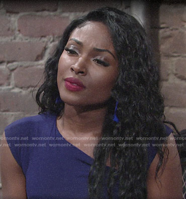 Ana's blue asymmetric top and tassel earrings on The Young and the Restless