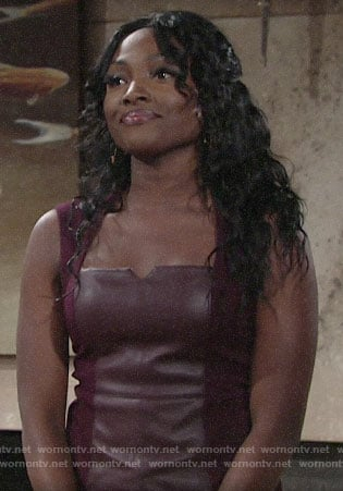 Ana's burgundy leather top on The Young and the Restless