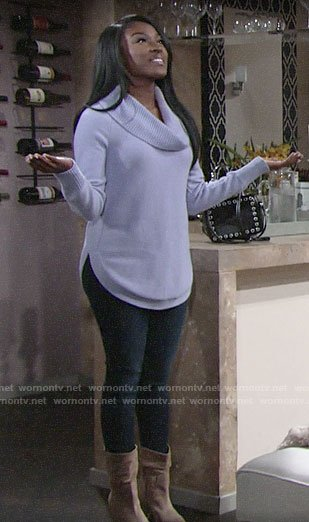 Ana's purple cowl neck sweater on The Young and the Restless