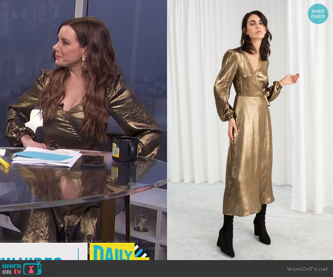 Metallic Satin Midi Dress by & Other Stories worn by Melanie Bromley  on E! News