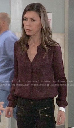 Anna's burgundy houndstooth print blouse on General Hospital
