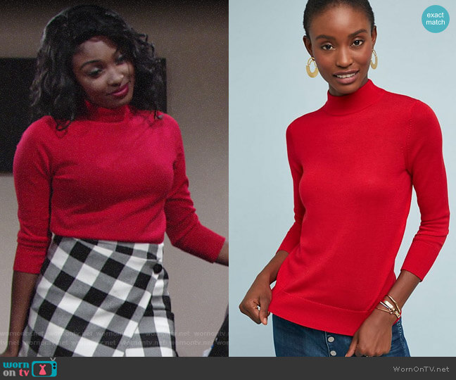 Anthropologie Audrey Mock Neck Knit Pullover worn by Ana Hamilton (Loren Lott) on The Young & the Restless