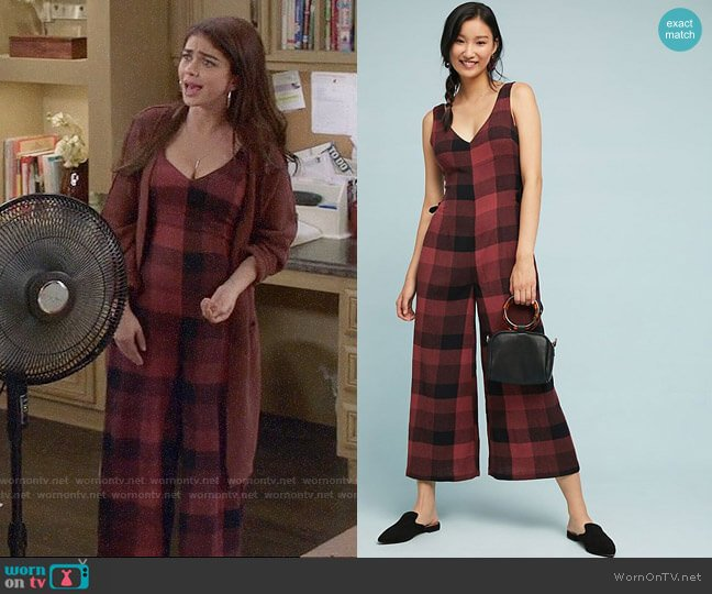 Anthropologie Checked Wide-Leg Jumpsuit worn by Haley Dunphy (Sarah Hyland) on Modern Family