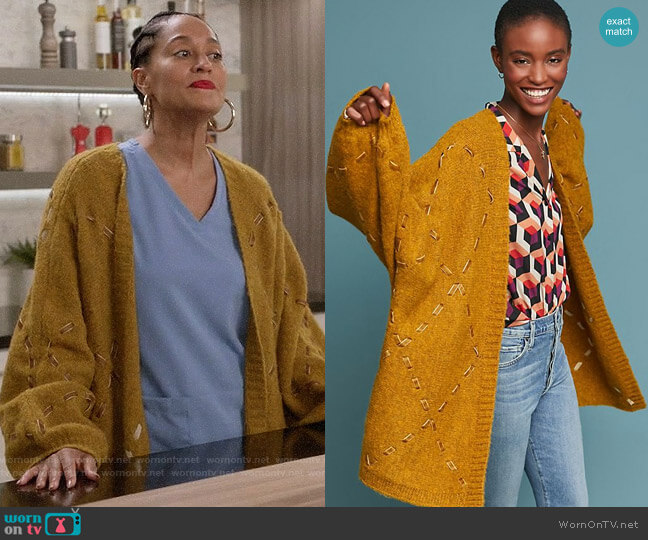 Anthropologie Janet Ribbon Cardigan worn by Rainbow Johnson (Tracee Ellis Ross) on Blackish