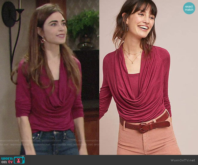 Anthropologie Jersey Cowl Neck Top worn by Victoria Newman (Amelia Heinle) on The Young & the Restless