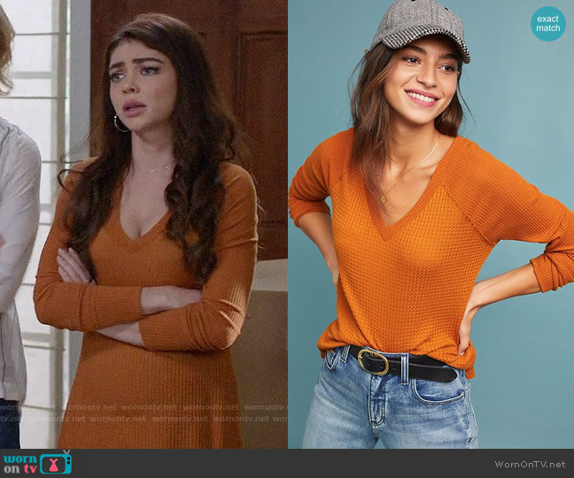 Anthropologie Maeve Pearson Waffle Top worn by Haley Dunphy (Sarah Hyland) on Modern Family